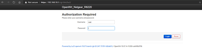 Luci Interface loading on VLAN 10