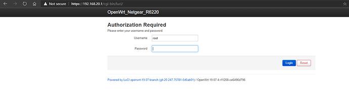 Luci Interface loading on VLAN 20
