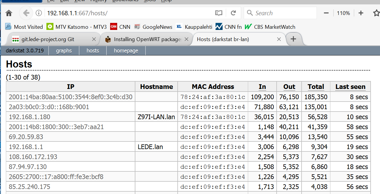 Installing OpenWRT packages on LEDE (bandwidth monitoring