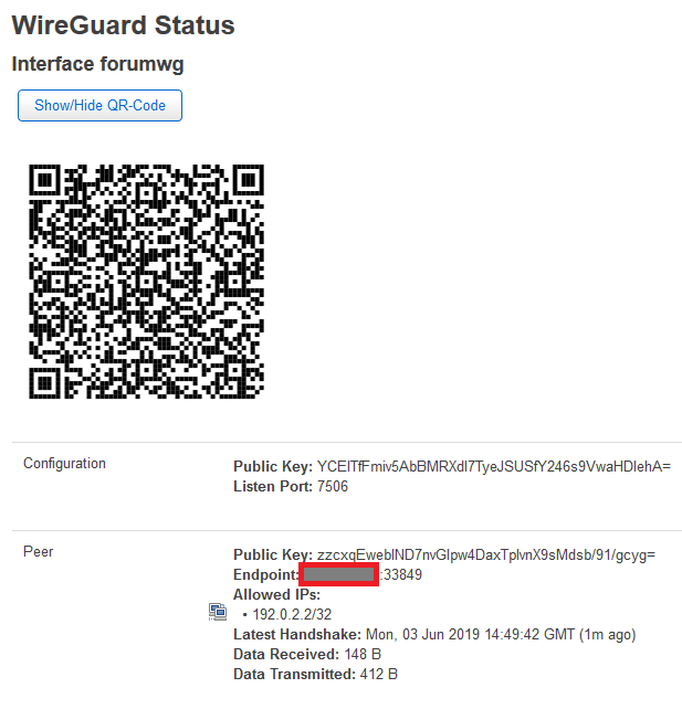 luci-app-wireguard QR Code shows Private Key - Network and