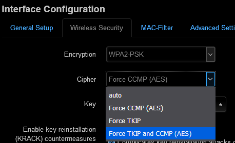 WPA2-PSK security related question: Force TKIP+CCMP or only