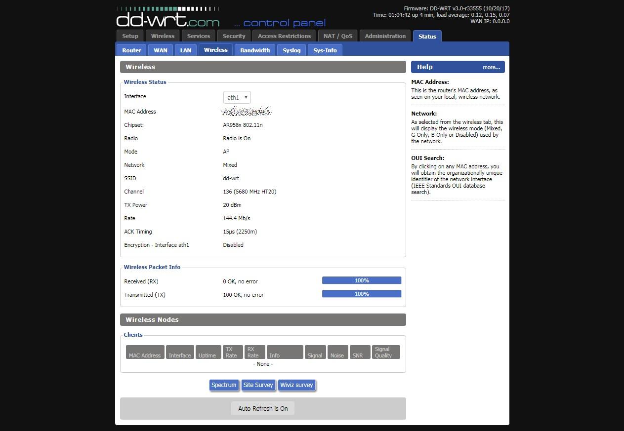 DD WRT  build 33555    Wireless Status