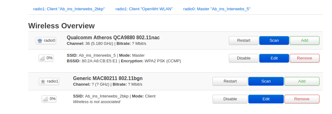 Filesystem full -> out of memory, setting up as a WLAN Client
