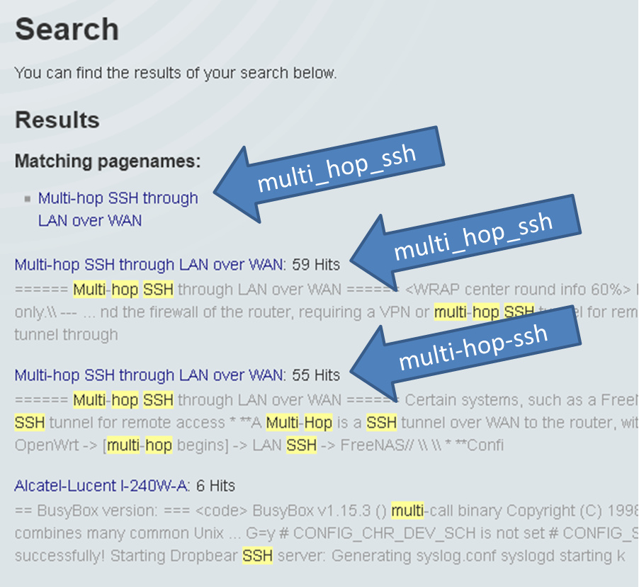 Test: User experience when searching for something in the wiki